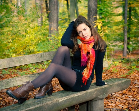 Young woman in autumn park Stock Photo - 10654189