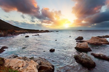 monterey: Big Sur Pacific Ocean coast at sunset