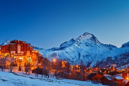 snowy mountain: Ski resort in Alps
