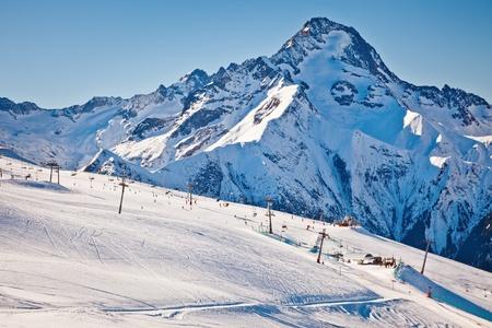 Ski slopes in French Alps photo