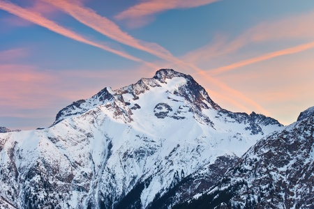 Alpine peak at sunset