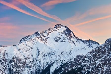 le roche: Alpine peak at sunset