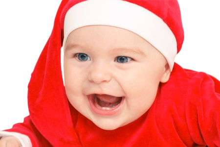 Happy baby Santa Claus photo