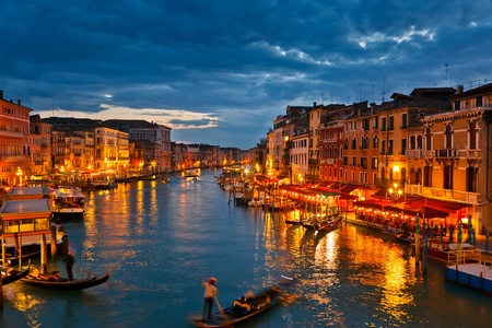 on the canal: Grand Canal at night, Venice
