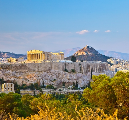 classical greece: View on Acropolis in Athens Stock Photo