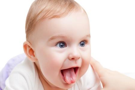 Portrait of cute blue-eyed baby