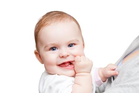 Portrait of baby on white background Stock Photo - 13067116