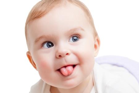 Portret van grappige baby op een witte achtergrond Stockfoto