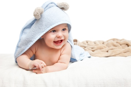 Cute crawling baby photo
