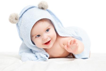 baby towel: Cute crawling baby