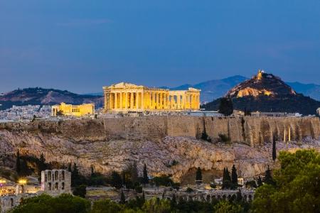 Blick auf Akropolis bei Nacht