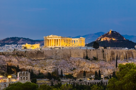 View on Acropolis at night photo