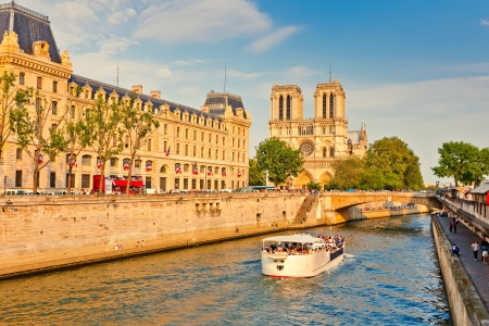 Seine river and Notre Dame cathedral photo