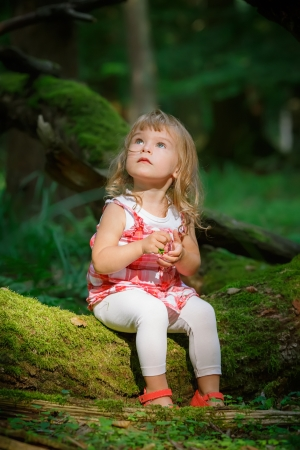girl in red dress: Little girl in the forest Stock Photo