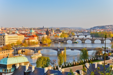 vltava: Prague at sunset Stock Photo