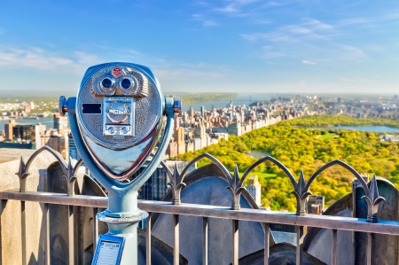 binocular: View on central park Stock Photo