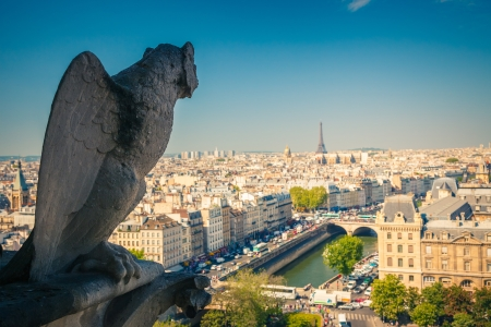 notre: Gargoyle on Notre Dame Cathedral Stock Photo