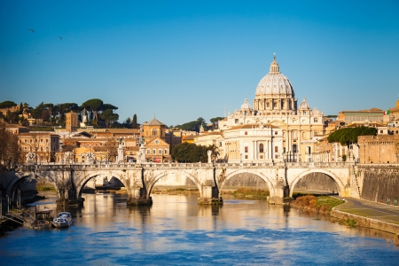 Tiber and St  Peter s cathedral, Rome photo