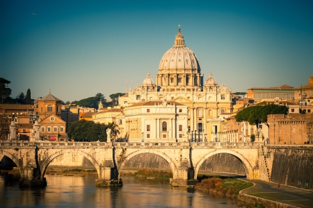 basilica of saint peter: Tiber and St  Peter s cathedral, Rome