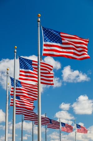 district columbia: US Flags over blue sky Stock Photo