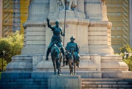 don quixote: Miguel de Cervantes monument in Madrid Editorial