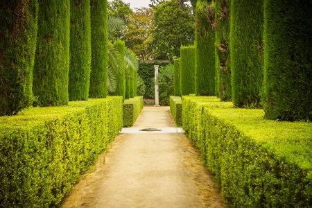seville: Garden of the Poets in Alcazar, Sevilla Stock Photo
