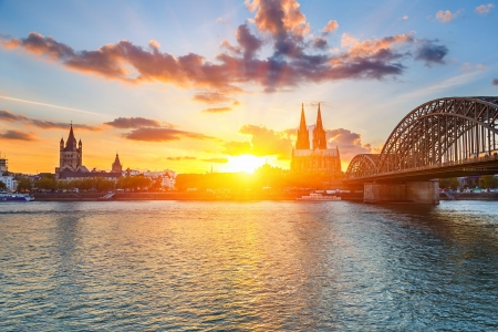 cologne: Cologne at sunset