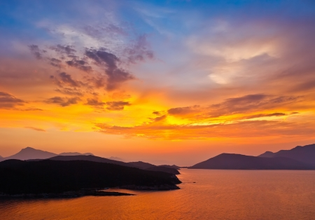 purple sunset: Sunset in Greece