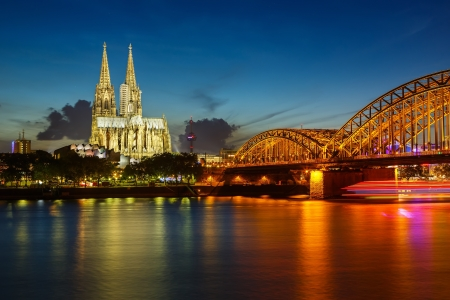 gothic church: View on Cologne Cathedral and Hohenzollern Bridge, Germany Stock Photo