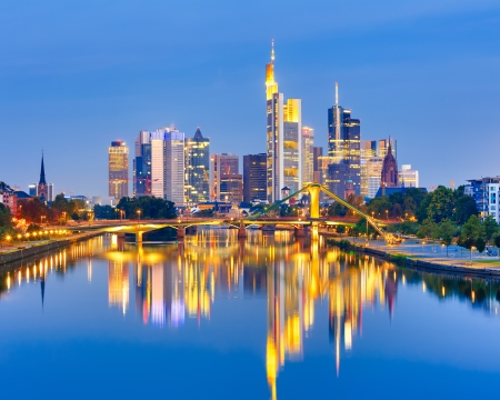 central european: Frankfurt am Mine at night, Germany Stock Photo