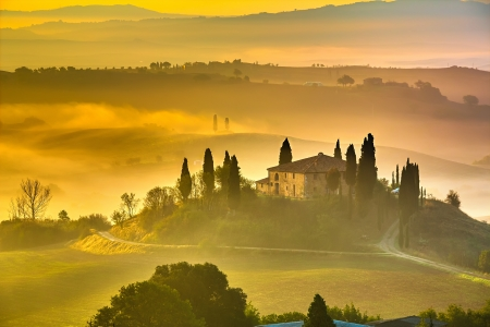 tuscany landscape: Tuscany at early morning, Italy Stock Photo