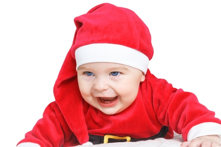 Crawling baby in Santa Claus costume Stock Photo - 16253726