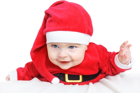 Crawling baby in Santa Claus costume Stock Photo - 16253725