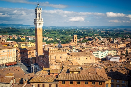 siena italy: Aerial view over city of Siena, Italy Stock Photo