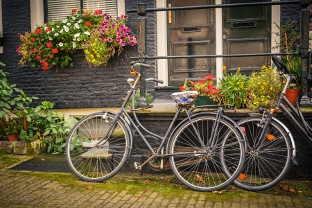 Retro style bicycles in Amsterdam, Netherlands photo