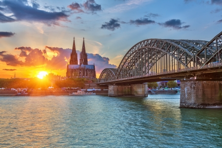 cologne: View on Cologne at sunset