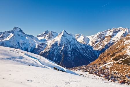 View over ski resort in French Alps photo