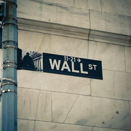 street corner: Street sign of New York Wall street