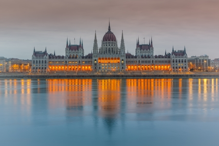 hungarian: Parliament building at dusk, Budapest