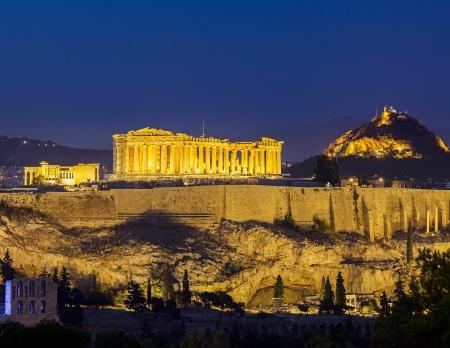 grecia antigua: Acr�polis de noche, Atenas, Grecia Foto de archivo