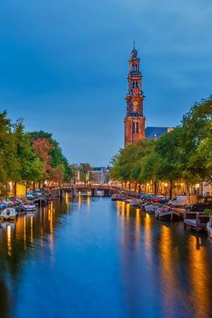 westerkerk: Western church on Prinsengracht canal in Amsterdam