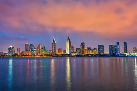 american city: Downtown San Diego at night Stock Photo