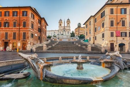 rome italie: Place d'Espagne au matin, Rome, Italie
