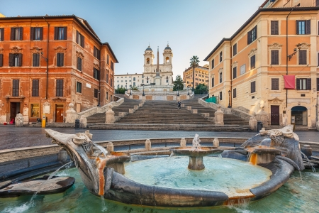 Spagna: Spanish Steps at morning, Rome, Italy