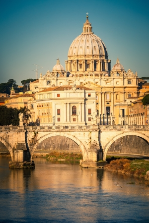 tiber: View at Tiber and St  Peter Cathedral, Rome