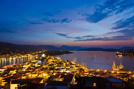 poros: Greek island Poros at night