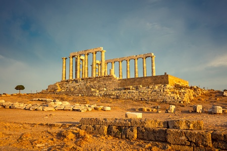 Ruins of Poseidon temple, Greece photo