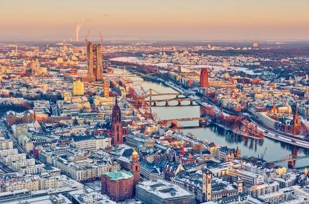 roemer: View over Frankfurt am Main at sunset