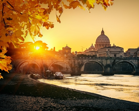 rome: View at Tiber and St  Peter
