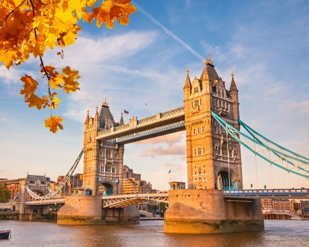 london tower bridge: Tower bridge with autumn leaves, London Stock Photo